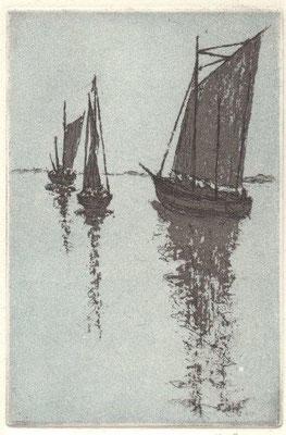 Grey, Hilmar, Zeesen-Boote, Saaler Bodden, Farbradierung-Reservage, 2015, 14-15, 14,5x9,8 cm / 30 Euro