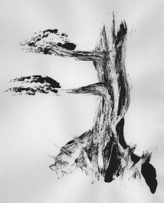 Streitner, Heike, Ein alter Baum, Monotypie, 2017, 40x30 cm / 40 Euro