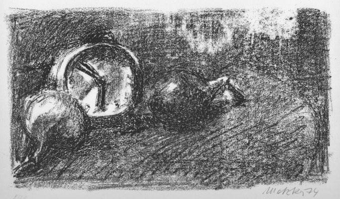 142. Metzkes, Harald, Zwiebel und Uhr, Lithographie 1974, 8-20, 19,2 x 33,5 cm / 140 Euro