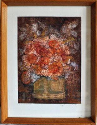 Klünder, Ingelore, Strauß, Tempera, 1983, 50,0 x 41,0 cm / 40