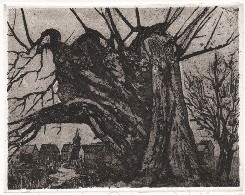 Müller, Helmut, Abendliches Dorf II, Radierung-Reservage-Aquatinta, 2010, 9-20, 12,5x16 cm / 60 Euro