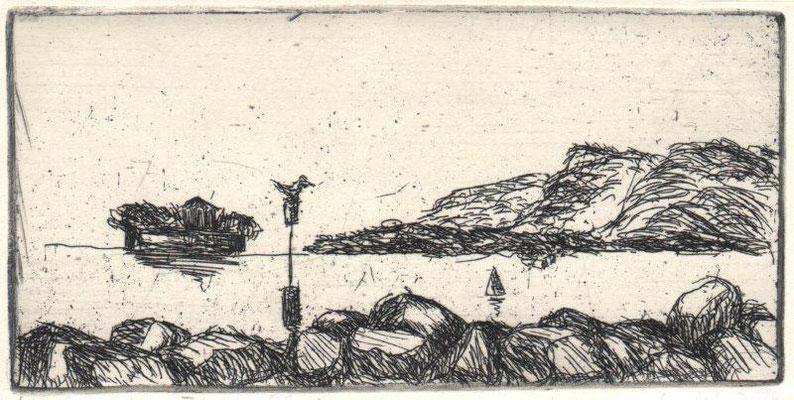 Waldmann, Karin, Mole von Trondheim, Radierung, 2014, ea, 6x12,4 cm / 16 Euro
