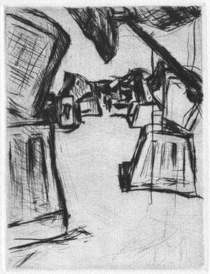 Donath, Christine, Am Strand, Kaltnadel 1988, 2-20, 16x12 cm, gerahmt / 80 Euro