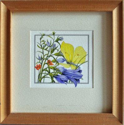 Unbekannt, o.T., Blüten mit Schmetterling, Tempera, o.J., 7,5 x 8,0 cm / 20 Euro