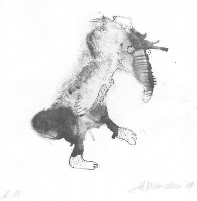 Drewelow, Heike, oT, Küsselküken, Lithographie, 2014, ea, 21,0 x 23,0 cm / 100 Euro