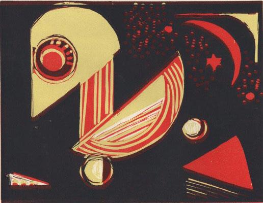 Eberle, Dagmar, oT, Farblinolschnitt, 19,5x25,5 cm / 50 Euro
