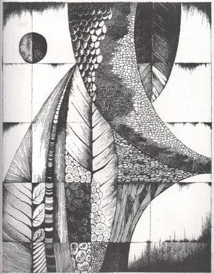 Grade, Gisela, oT., Offsetlithographie, 1977, 36x28 cm / 40 Euro
