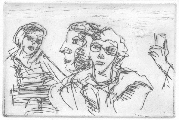 Lingertat, Brigitte, Im Freien, Komm ins Offene, Radierung, 2015, 3, 10x15 cm / 70 Euro