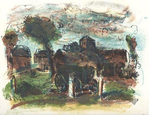 141. Metzkes, Harald, Wegendorf, Farblithographie 1994, Probe, 24,5 x 32,0 cm / 160 Euro