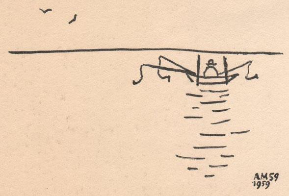 Mohr, Arno, Angler, Lithographie 1959, 8x12,5 cm / 40 Euro