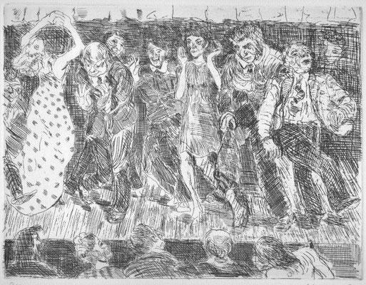 Metzkes, Harald, Alles tanzt, Kaltnadelradierung 1974, 21-40, 24,0 x 31,5 cm / 200 Euro