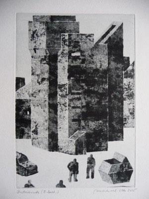 Otto, Michael, Kraftwagen, Mensch, Container, Haus, 2015, Kaltnadel, 22x15cm / 180 Euro