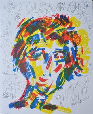 Schlangenbader, Peter, Muse L2, Farbsiebdruck-Bleistift, 2017, Unikat, 70x50 cm / 260 Euro