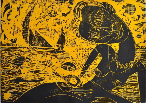 Grüger, Margit, aus dem Undine-Projekt, Farbholzschnitt 2017, ea 42,0 x 60,0 cm / 280 Euro