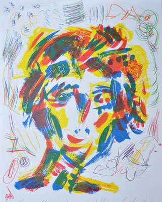 Schlangenbader, Peter, Muse L1, Farbsiebdruck-Farbstifte, 2017, Unikat, 70x50 cm / 240 Euro
