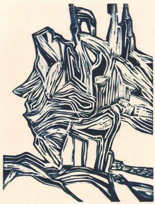 Eberle, Dagmar, Wurzel, Linolschnitt, 25,5x19,5 cm / 20 Euro