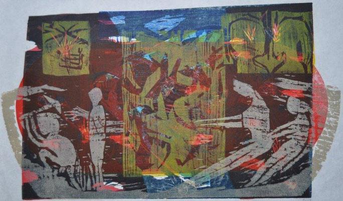 Arantes Müller, Michael, Rettung, Farbholzschnitt 2009, 1-1, 43,0x57,0 cm / 400 Euro