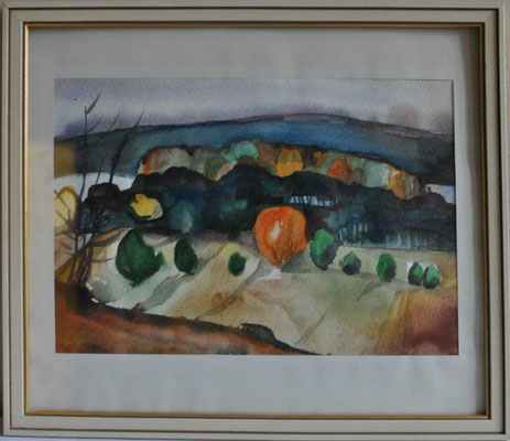 Klünder, Ingeborg, o.T., Landschaft, Aquarell, o.J., 23,0 x 33,5 cm / 60 Euro