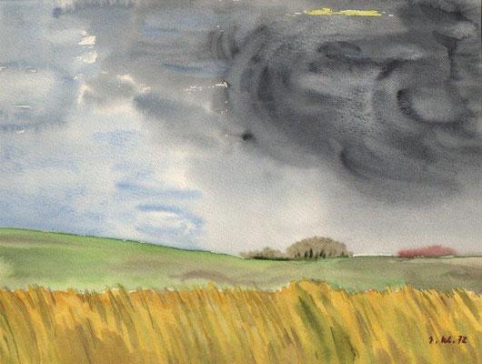 Klünder, Ingelore, Gewitter, Aquarell, 1972, 22,0 x 29,0 cm / 60 Euro