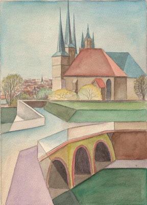 Kaufhold, Gerhard, Erfurt-Petersberg, Aquarell, 2007, 35,5x26,5 cm / 80 Euro