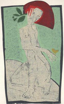 Hofmann, Michael, Mädchen mit gelbem Vogel, Farbholzschnitt 2002, 15-22, 31,2x20 cm / 120 Euro