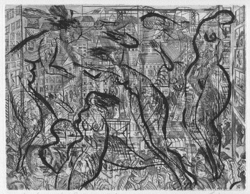 Dress, Andreas, Kleine Stadt, Radierung 1986, 22,5 x 29,0 cm / 30 Euro