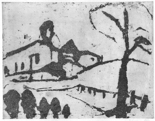 Meiser, Monika, Großer Hügel, Reservage, 1988, 16,5 x 21,3 cm / 80