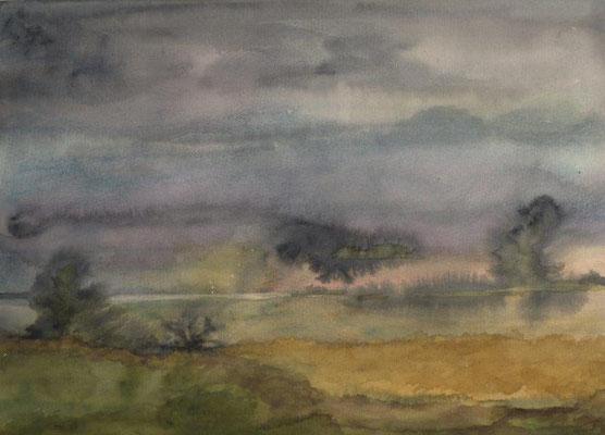 Tacke, Christine, Landschaft, Aquarell, 1980, 24,5 x 34,5 cm / 50 Euro