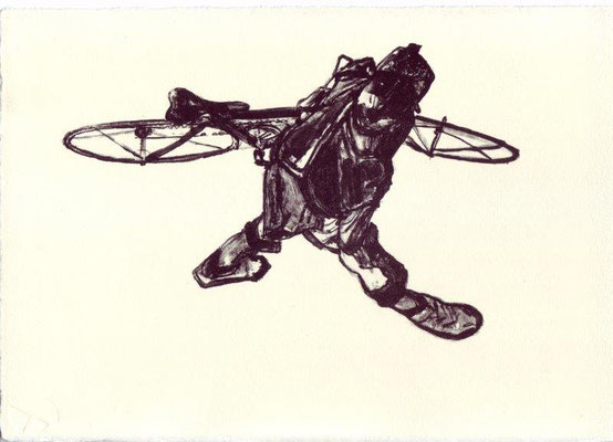 Streit, Andrea, Ein famoser Radfahrer ist, wer sein Rad auch schieben kann, Lithographie 2009, 21x29 cm, Auflage 20 / 180 Euro