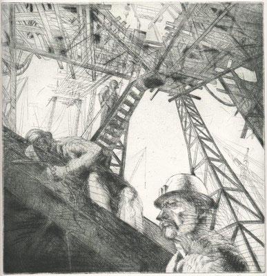 Rackwitz, Günter, Baggermontage Radierung 1980, III 7-100, 30,0x29,0 cm / 30 Euro