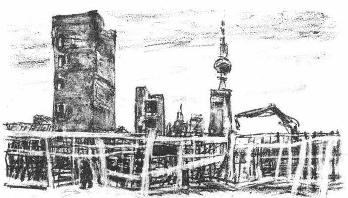 Stein Hans, Berlin - Palast-Rückbau I, Lithographie, 2008, 6-50, 17x25,5 cm / 150 Euro