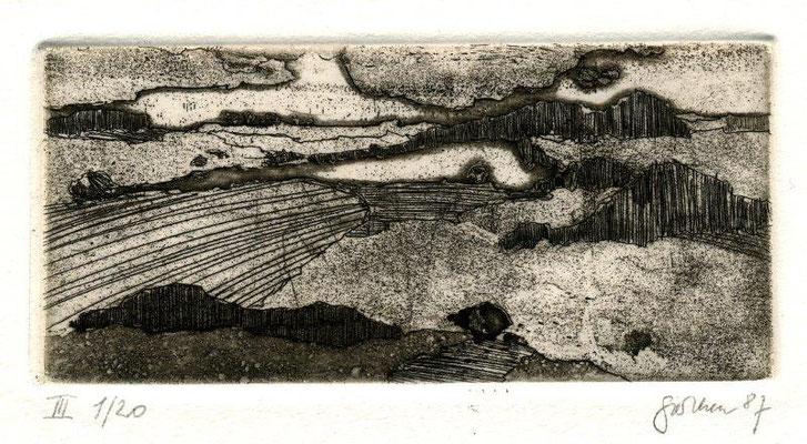 Perthen, Christine, Landschaft, 1987, Aquatinta-Radierung 1987, III 2-20, 5,5x12 cm, gerahmt / 80 Euto