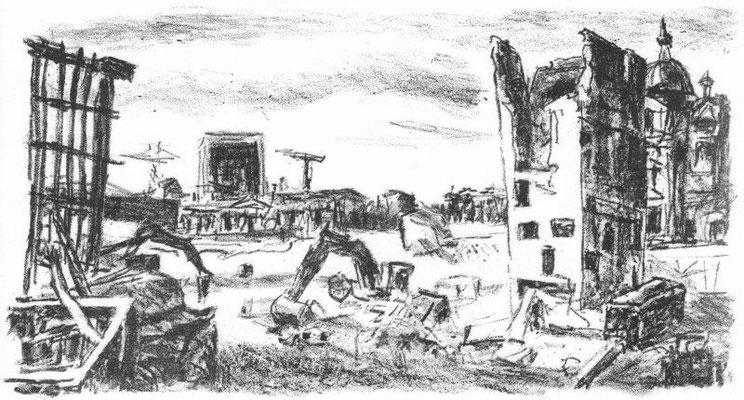 Stein, Hans, Berlin - Palast-Rückbau II, Lithographie, 2008, 6-50, 17x25,5 cm / 150 Euro