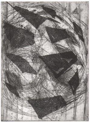 Hägele, Karolin, Schwebend, Vernis mou-Aquatinta, 2017, ea, 19,5x14,5 cm / 100 Euro