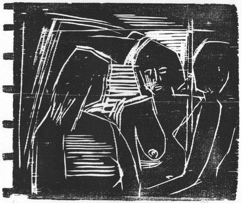 Roenspieß, Klaus, Drei Frauen, Holzschnitt, 1982, 6-10, 23,6 x 28,5 cm / 80 Euro