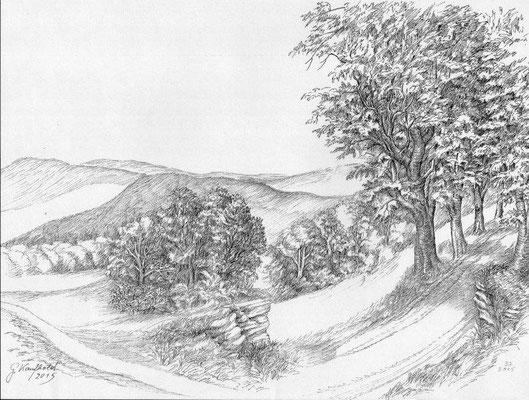 Kaufhold, Gerhard, Landschaftsstudie, Zeichnung, 2015, 29x40 cm / 80 Euro