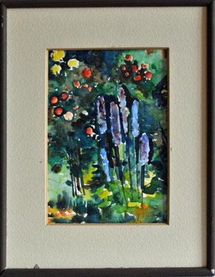Klünder, Ingelore, o.T., Blumen, Aquarell, o.J., 21,5 x 15,0 cm / 50 Euro