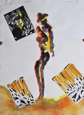 Xago, Tanz heute und vor 90 Jahren, Hommage für Franz Hagen, Holzschnitt-Öl-Aquarell-Tusche, 2012, 59,0 x 42,0 cm - Kopie / 160 Euro