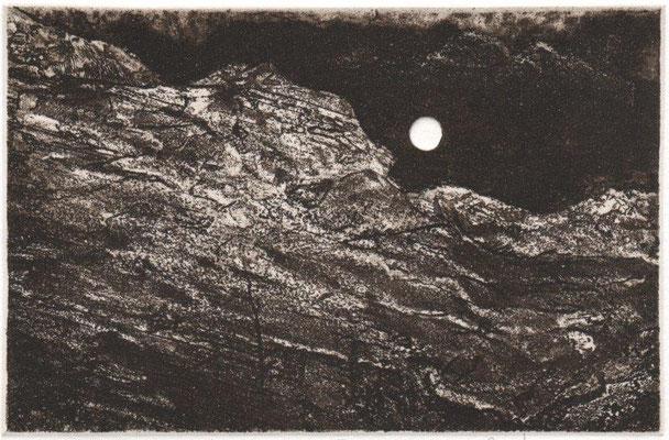 Müller, Helmut, Kalten Nacht III, Radierung-Reservage-Aquatinta-Prägung, 2015, 12-12, 10,5x16 cm / 60 Euro