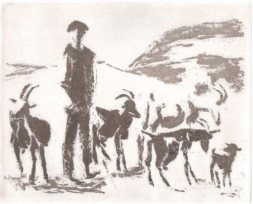 Horota-Müller, Birgit, Rumänischer Ziegenjunge, Reservage, 2012, 11-12, 19,8x25 cm / 180 Euro