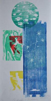 Arantes Müller, Michael, Für Anna Seghers und Jorge  Amado, Farbholzschnitt 2012, 1-1, 60,0 x 30,0 cm / 380 Euro