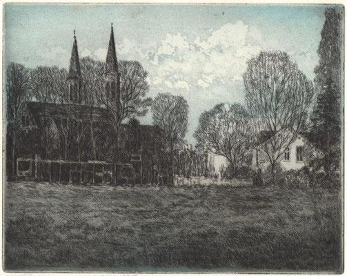 Bartsch, Ekkehard, Pankow Kirche, Farbradierung-Aquatinta 2017, 19,5x24,5 cm / 70 Euro