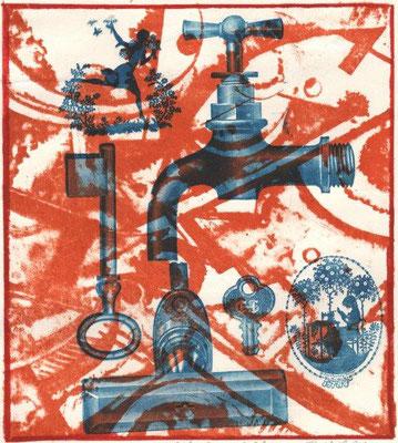 Friedrich, Bernd, Schlüssel zum Glück, Klischee-Druck über Lithographie-Farbwalzung 2012, Unikat, 20,2x18,2 cm / 90 Euro