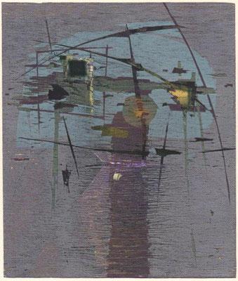 Olschewski, Detlef, Nach dem Tage, Farb-Radierung-Holzschnitt 1998, 13-15, 27,0x22,8 cm / 140 Euro