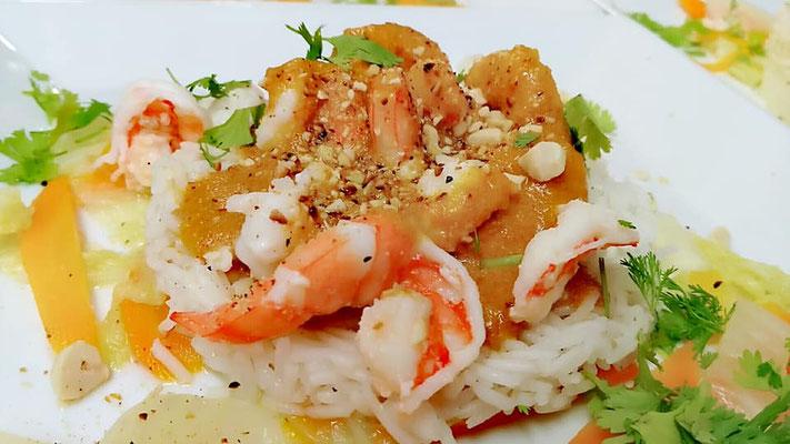 Crevettes aux cacahouètes, Chef à domicile, chef à la maison, chef à domicile Grasse, Cours de cuisine à domicile, cours de cuisine Grasse, Chef Tristan Pontoizeau