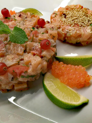 Tartare de saumon, Chef à domicile, chef à la maison, chef à domicile Grasse, Cours de cuisine à domicile, cours de cuisine Grasse, Chef Tristan Pontoizeau