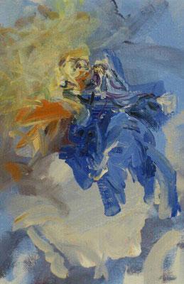 Aufnahme in den Himmel, Acryl, 24x18cm, 2019, frei nach Kremser Schmidt