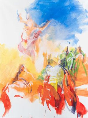 """Der Auferstandene kehrt zu seinem Vater zurück, Acryl, 120x90cm, 2019, frei nach Kremsr Schmidt: """" Christi Himmelfahrt""""Öl, 57x66cm, 1800, Stift Seitenstetten"""