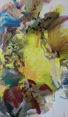 """""""Ins Licht"""", Acryl, 120x90cm, 2018, frei nach Kremser Schmidt, """"Die armen Seelen im Fegfeuer, Öl, 300x174cm, 1768, Pfarrkirche St. Veit, Krems"""