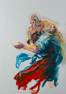 Petrus und seine Frau begrüßen Christus in ihrem Haus, Acryl   100 x 70 cm   2020, frei nach Motiven des Kremser Schmidt